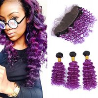 Barato Cabelo Encaracolado Roxo Escuro-Dark Roots Purple Lace Frente frontal com pacotes de cabelo Deep Wave Curly Black to Purple Ombre Brazilian Hair Weaves with Lace Frontal