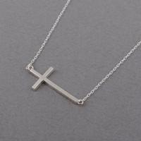 Wholesale Sideways Crosses Necklace - 10PCS- N063 Gold Silver Sideways Cross Necklace Cute Cool Christian Cross Necklaces Simple Tiny Faith Religious Cross Necklaces