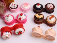 cupcake en caja al por mayor-Accesorios para lentes de contacto Conjunto de almacenamiento de lentes de contacto Nuevos estilos de Cupcake crema lindo Estuches para lentes de contacto Estuche para lentes de Cake Estuche para compañeros Estuche para lentes