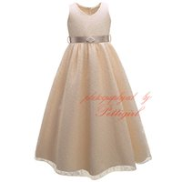 Wholesale dress big belt resale online - Pettigirl Hot Sales Big Girls Lace Dress Decorated With Pearls Belt Fashion Kids Party Dress Baby Wear DMGD81204