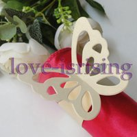 Wholesale Quality Order Party Decoration - Hot Sale-100pcs High Quality Ivory Paper Butterfly Napkin Rings Wedding Bridal Shower Napkin holder-Sample Order