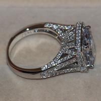anneaux lapidés achat en gros de-Taille 5-11 bijoux de luxe 8CT grosse pierre saphir blanc 14 kt or blanc rempli GF simulé diamant mariage bague de fiançailles anneau amoureux cadeau