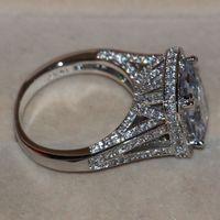 tamaño de los anillos de boda de compromiso al por mayor-Tamaño 5-11 Joyería de Lujo 8CT Big Stone zafiro blanco 14kt oro blanco lleno GF Simulated Diamond Wedding Band Anillo de compromiso amantes regalo