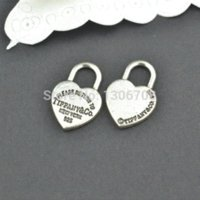 Wholesale Metal Charms Pendant Heart Lock - 50pcs Antique metal tibetan silver charms hearts lock jewelry pendants for diy necklace bracelet jewelry findings 20*13mm Z42903