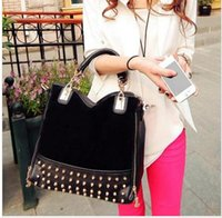 Wholesale Black Studded Messenger Bag - Cheap handbags new rivet package stitching flannel bag shoulder bag brand Rivet Studded Totes Messenger Bag B069