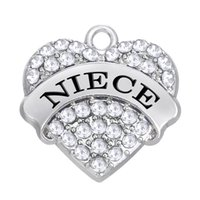 Venda Por Atacado Rhodium Plated Alphabet Colorido NIECE Rhinestone Heart Single-Sided Charms For Jewelry Accessory Making
