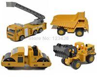 kamyonlar ekskavatör için oyuncaklar toptan satış-Mini Metal Alaşım Diecasts Oyuncak Araçlar Vinç Vinç Asansör Yol Silindiri Kapmak Kazıcı Ekskavatör Damperli Kamyon Damperli Kamyon Mühendisi
