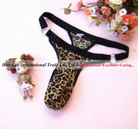 Wholesale Leopard String Blue - Wholesale-Mix Wholesale Sexy Underwear, MOQ 10Pcs Lot Sexy Lingerie, Elasticity Leopard Man's Panties, Sexy Thong, Sexy G-String #G11