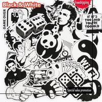 araba için siyah beyaz çıkartmalar toptan satış-101 Adet Siyah ve Beyaz Sticker Snowboard Araba Styling Kızak Kutusu Bagaj Buzdolabı Oyuncak Vinil Çıkartması Ev dekor DIY S ...