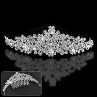 Wholesale Cheap Hair Bows Free Shipping - Free Shipping Cheap Bride Tiaras & Hair Accessory Wedding Crown Bow Style Beaded Bride Crown Hair Headpiece Headband With Comb 2016 A294