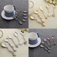 Wholesale Royal Cutlery Set - 5pcs set Vintage Royal Style Coffee Spoons Alloy Carved Flatware Cutlery Dessert Spoon For Snacks Kitchen Accessories