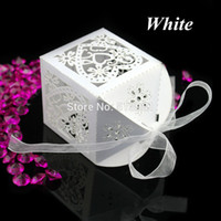Wholesale Sweet Wedding Favours - Wholesale- New 200Pcs Set Love Heart Wedding Party Favour Table Sweets Candy Boxes With Ribbon 7 Colors