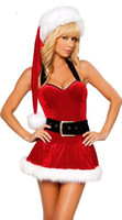 Wholesale lady santa outfits - Adult Sexy Christmas Santa Ladies Fancy Dress Xmas Cosplay Party Costume Outfit + HAT 88584 one size S-L