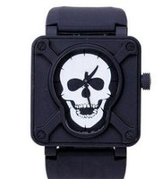 Wholesale Skull Fashion Glasses - Luxury Swiss Brand Men Automatic Movement Mechanical Watches Classic Skull Face Black Rubber Strap Stainless Mens Fashion Wristwatch For Man