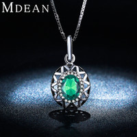 Wholesale Gold Emerald Pendant - MDEAN White gold plated necklace Pendant Fashion for Women big Green AAA Zircon Wedding Emerald jewelry MSN006