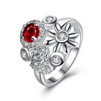 Nova chegada Gorgeous European 925 Sterling Silver Jewelry Natural Ruby Rings com Áustria Crystal Stones Rings For Women