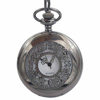 Wholesale Pocket Watch Half Hunter - Japen PG21J Quartz Movement Pocket Watch Black Case With Chain Small Clock Mens Watch Casual Skeleton half hunter Timepieces As Gift For men