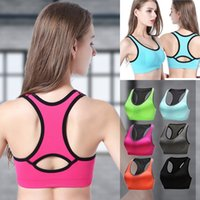 Wholesale Ladies Green Vest Tops Wholesale - Solid color Bra Running Sports Shirts Yoga Gym Vest Push Up Fitness Tops Sexy Underwear Lady Crop Tops Shakeproof Strap Bra MK192