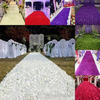 Wholesale Cheap Wholesale Carpets - 1.4 m Wide 50m lot Fashion Wedding Decoration Aisle Runner Rose Flower Petal Carpets 14 Colors Available Cheap Sale