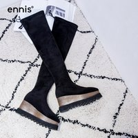 Venda quente 2017 Black Over The Knee Boots Wedge High Heel Stretch Botas Round Toe Platform Musguinha High Lace Up Shoes Women Boots L748