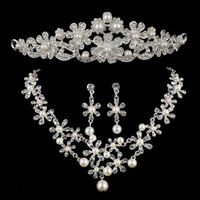 Wholesale Wedding Jewelry Sets Crowns - Wedding and Engagment jewelry, Necklace, Earring, Crown, 3 piece-set,noble and delicate ,free shipping and high quality