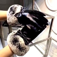 Wholesale Black Lambskin Gloves - A00OHA - 2017 New Brand Genuine Gloves Fashion Warm Winter Women's Black Gloves lambskin+ rabbit fur Mittens free size