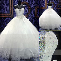 Wholesale Wedding Dress Swarovski Crystals Pearls - 2015 New Plus Size Wedding Dresses Bridal Gown With Ball Gown SWAROVSKI Luxury Crystals Sweep Train Beaded White Or Ivory Lace UP