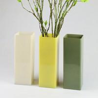 precio de jarrones de de color simple florero de vidrio cuadrado decorado moderno