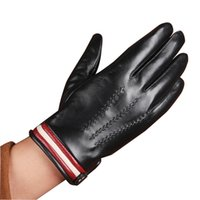 Wholesale Nappa Gloves - Wholesale-Luxury Full Palm Touch Screen Gloves For Men's Touchscreen texting Winter Italian Nappa Leather Gloves Free Shipping