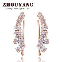Wholesale Hook Diamond Earrings - Top Quality 2015 New Four-Prong Setting 9pcs CZ Diamonds 18K Gold Plated Ear Hook Stud Earrings Jewelry ZYE791 ZYE792