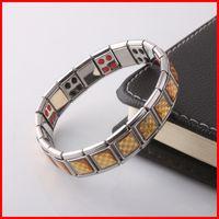 Wholesale magnetic healing - Stainless Steel Healthy Magnet Bracelet Fashion Jewelry Healing Magnetic Titanium Bio Energy Bracelet For Men Blood Pressure bracelet 160811