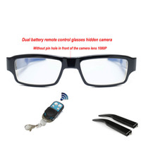 Wholesale spy camera lens glasses - Full HD 1080P Remote Control Video Spy Camera Glasses No Lens Hole Hidden Camera with Detachable Battery in Retail Box