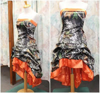 Wholesale High Low Corset Prom Dress - 2016 Orange Camo Short Prom Dresses Strapless Pick Up Elastic Satin Corset Lace Up Backless Evening Party Dresses High Low Country Dresses
