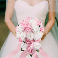 Wholesale Pink Roses Silk Bridal Bouquets - Teardrop Wedding Bouquet Bridal Rose Teardrop Handmade Silk Flowers Brooch Crystal Decor 8 Color Optional