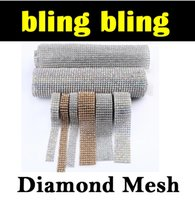 2016 Autocollants DIAMOND MESH RHINESTONE WRAP RUBAN CRISTAL COUPE Party Decor Décoration Mariage véhicule CAKE BANDING voiture E461J