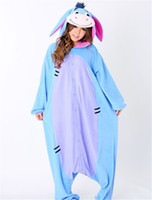 Wholesale Donkey Kigurumi - HappyBuy Kigurumi Onesie Animal Onesies Pajamas For Adult Eeyore Donkey Onesies Women's One Piece Hooded Fleece Onesies Pajamas
