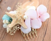 Wholesale Starfish Hair Comb Wedding - Bridal wedding hair combs boutique girls simulation pink flowers princess hair accessories children pearl starfish photography props R1458