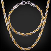 Wholesale Two Tone Gold Necklace Men - U7 Two Tone Gold Plated Rope Chain Necklace Set Party Jewelry 18K Real Gold Plated Stainless Steel Necklace Bracelet Men Jewelry Set