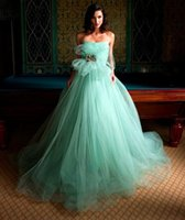 Wholesale Strapless Mint Prom Dress - Strapless Ball Gown Prom Dresses Backless Sweep Train With Crystal Waist Mint Green Tulle Party Quinceanera Dresses OG-208