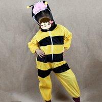 trajes de cosplay de anime meninos venda por atacado-Crianças Traje Animal para Crianças Dos Desenhos Animados Tema Abelha Amarela Anime Roupas Cosplay Macacões Menino Meninas Traje Carnaval Hallowmas Par