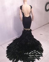 Sexy Black Feather Mermaid Backless Prom Dresses 2017 Gold Lace Appliques Plus Size Sequined 2K17 Long Sleeves Formal Evening Party Gowns