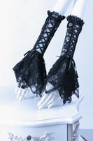 Wholesale Gloves Lolita - Rq-bl Lolita mittens lace Gloves gothic Arm Warmers 1016