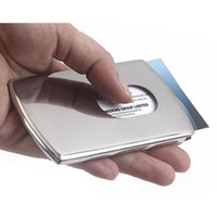 Wholesale Thumb Credit Card Holder - Wholesale Business Card Holder Women Vogue Thumb Slide Out Stainless Steel Pocket ID Credit Card Holder Case for Men T158 salebags