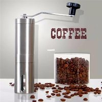 Wholesale Hand Grinders Coffee - New Arrive Silver Stainless Steel Hand Manual Handmade Coffee Bean Grinder Mill Kitchen Grinding Tool 30g 4.9x18.8cm Home