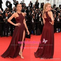 A-Line blake lively - Only Blake Lively Sassy Celebrity Dresses for Gossip Girl Cheap Pleated Chiffon Halter Neck A Line Burgundy Chiffon Red Carpet Gown