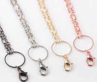 Wholesale Rolo Gold Chain - Floating Charms Locket Chains Necklace Stainless Steel Metal Rolo Link Long Chain For Glass Living Memory Locket Min 10pcs