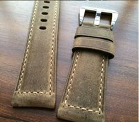 Wholesale 26mm Panerai - Wholesale-Brown Crazy Horse 24MM   26MM Calfskin Strap, For Panerai Retro Watchbands, Classic Men's Watchbands