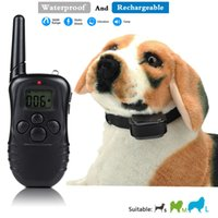 Wholesale Anti Bark Remote Collar - 300M meter Rechargeable And Waterproof Vibration Shock Electronic Electric Remote Dog Training Collar 100Level Anti Bark Control HOT