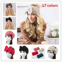 Wholesale Stretch Knit Headband - Womens Crochet Winter Autumn Knit Big Butterfly Headbands Adult Lady Knit headwrap winter hair fashion accessories Stretch Hair Bands WHA03