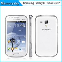 Wholesale S Dual Core - Original Samsung Galaxy S Duos S7562 cell phone 5MP camera wifi GPS 3g android 4.0 dual sim phone refurbished in stock 002875